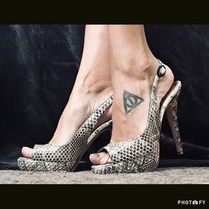 PRICE DROP bebe Snakeskin Strapback Heels